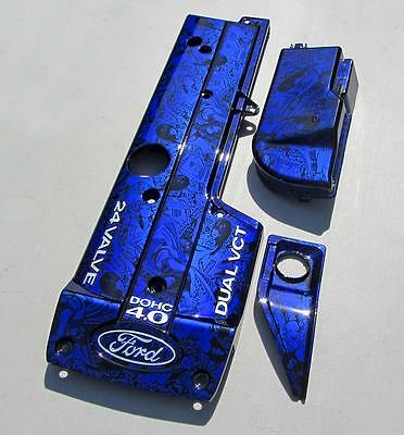 Ford Falcon BA BF Custom Candy Blue Girls Engine Coil Fuse Box Cover XR6 NA 4L