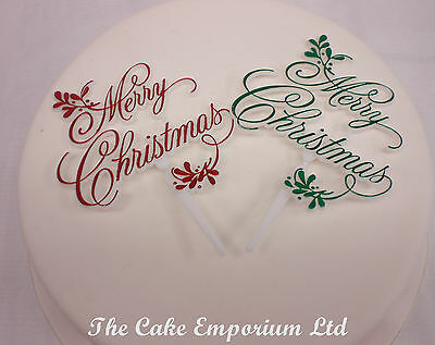 Merry Christmas Plaques / Motto Cake Topper 1 x Red 1 x Green Mistletoe