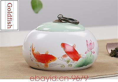 China goldfish tea caddies ceramic tea pot storage canister spice jars jar box