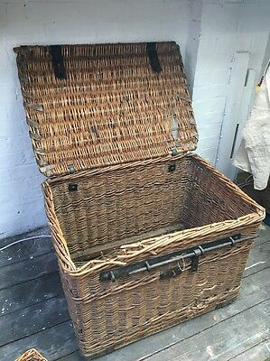 Antique Victorian Laundry Basket Trunk With Iron Lock Magpie Laundry