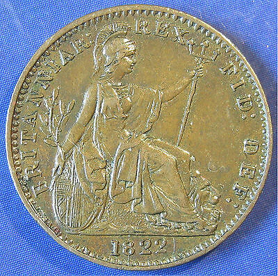 1822 ¼d George IV Obv 2 copper Farthing in a lovely high grade