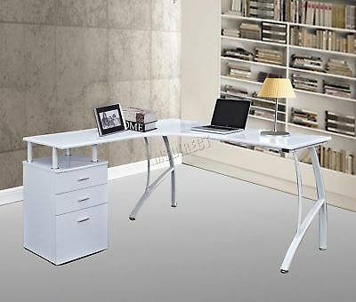 FoxHunter L-Shaped Corner Computer Desk PC Table Home Office Study CD04 White