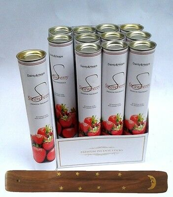 Fruit Incense Sticks in Tube, 30 Joss Sticks & holder STRAWBERRY FREE DELIVERY