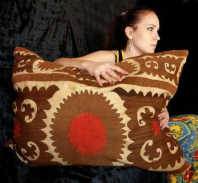 Uzbek Silk Handmade Embroidered Suzani Cushion Pillow Cover Pillow A8915