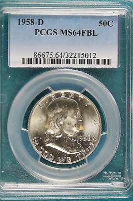 1958-D PCGS MS 64 FULL BELL LINES Franklin Half Dollar!! #A1937