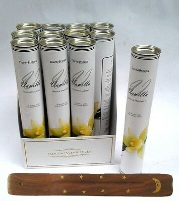 Exotic Incense Sticks in Tube, 30 Joss Sticks & holder VANILLA FREE DELIVERY