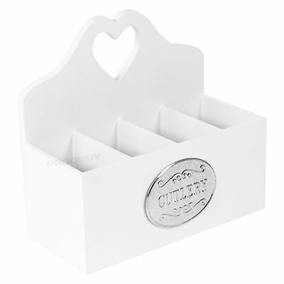 White Heart Wooden Cutlery Storage Caddy Box Tray Organiser Holder Dining Table