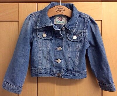Girls Blue Denim Jacket Age 2-3 Years Tesco Cherokee Coat Cotton Casual