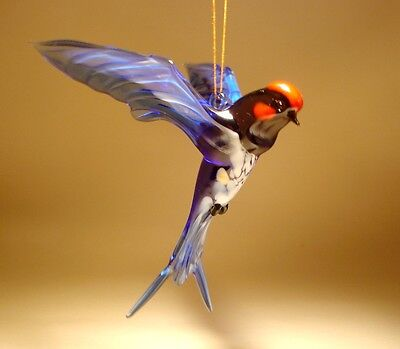 Blown Glass Figurine Bird Hanging Swallow Tail Blue and White SWIFT Ornament