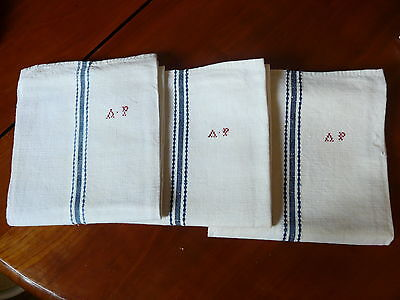 3 antique French linen traditional  blue striped torchon towels red AP monograms