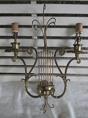 Antique Brass Lyre Sconce Double Light, Esquisite, for Restoration