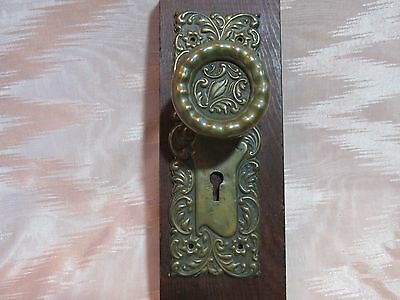 Exquisite Beautiful Antique Brass Art Nouveau Style Door Knob and Backplate Set,