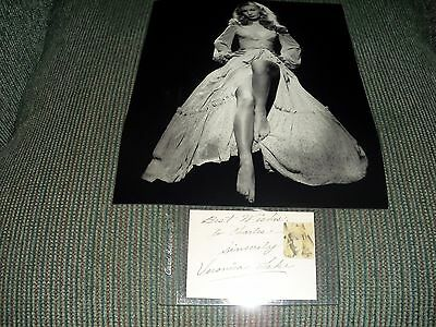 veronica lake hand signed  card..........