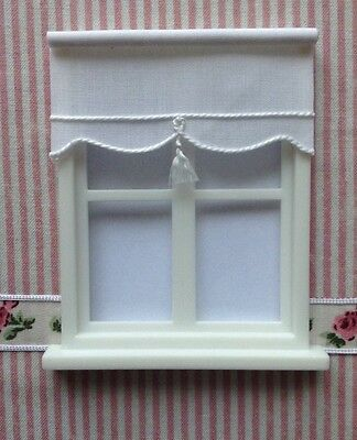 Miniature BLIND for Dollshouse  7cms x 3.5 cms  Plain White 24th scale