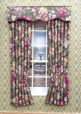 12th SAGE GREEN with Roses Curtains For Dolls House 4.75w X 7.5""
