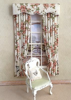 12th Cream/beige Pink Roses Dollhouse Curtains 4.75 X 7.5 Or Made To Your Size