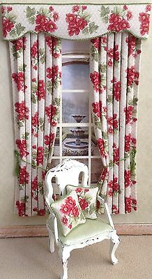 12th Deep Pink/red Green Dollhouse Curtains 4.75 X 7.5 Or Made To Your Size