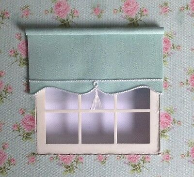 1:12 Miniature BLIND for Dollshouse Windows 10cms x 5 cms Plain Mint Green