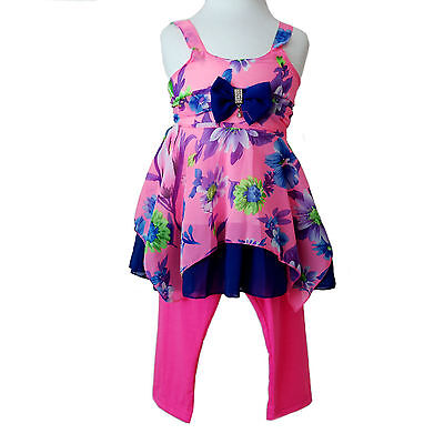 Girls Han of Paris Stunning Pink Party Outfit Dress Top & Leggings Age 3-4 Years
