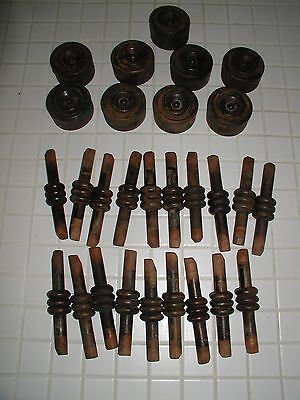 """19 small 6"""" Vintage wood balusters spindles, 9 Bulls-eye pieces fretwork Antique"""