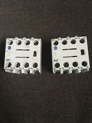 Lot Of 2 Allen Bradley100-F A22 Ser A Auxiliary Contact Blocks Free Shipping