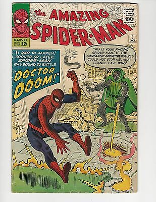 The Amazing Spider-Man #5 Vol. 1, 1963, Silver Age, Vg- 3.5, Battles Dr. Doom
