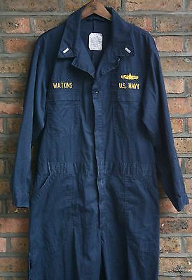 Vtg Us Navy Blue Utility Military Coveralls Uniform Jumpsuit Costume 42/44 Large