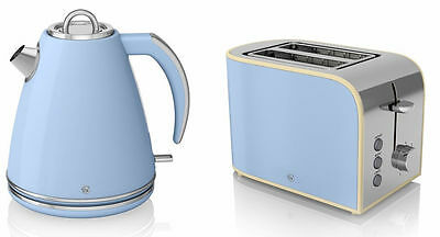 Swan Retro Blue Cordless 1.5L Jug Kettle & 2 Slice Toaster Set