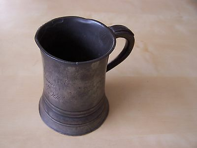 Antique Victorian Pewter Half Pint Tankard - Engraved Name & Good Marks In Vgc