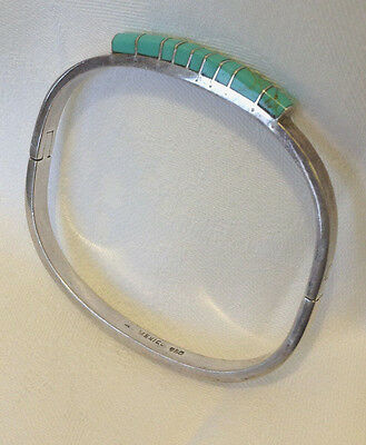 Gorgeous wearable Mexican turquoise & silver 950 hinged bangle bracelet - gift!