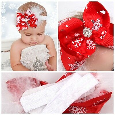 4 inch Baby Girls Rhinestone  Hair Bow Feather Headbands Christmas Boutique