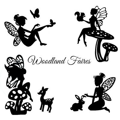 Die Cut Outs Silhouette Fairies & woodland Creatures x 9/12  fairy jar shapes