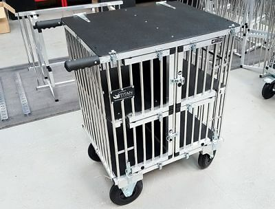 "Titan Toy Breed 4 Berth Aluminium Dog Show Trolley w/8"" All Terrain Wheels"