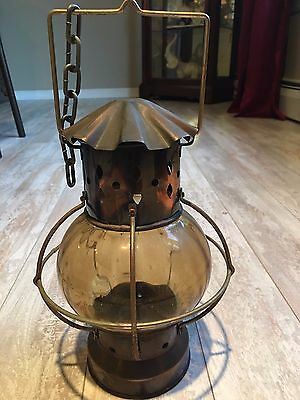 Vintage Candle Lantern Outdoor - Hanging - Metal And Glass
