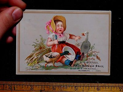 L.S Hodges Fine Boots & Shoes Child Crying Ducks Eating Her Food F40