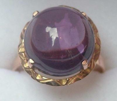 EGYPTIAN LARGE SOLID 14ct ROSE GOLD ALEXANDRITE COCKTAIL RING - NEW - SZ- R