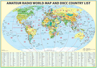 "2016 Ham Radio Map with DXCC lookup table 23x33"". Amateur Radio Prefixes"
