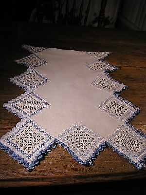Antique Large Hardanger Embroidery Runner, Worked in Delft Blue And White