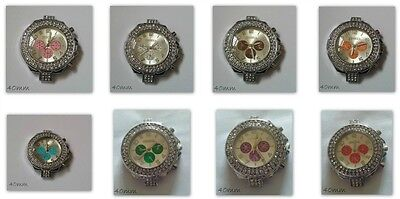 Large Watch Face Rhinestone 3 Dial Silver Plated