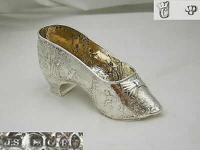 Rare Large Victorian Hm Sterling Silver Embossed Shoe 1898
