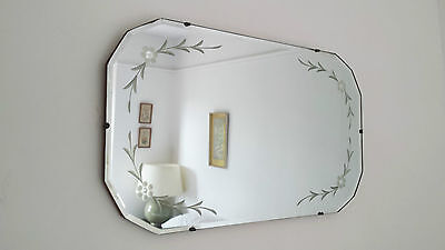 Vintage Retro Art Deco Frameless Etched Bevelled Wall Hall Mirror Antique