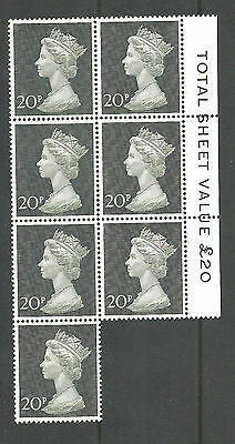 Great Britain block of 7 stamps  Mint N.H.