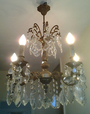 Antique French Ornate gilt Brass & Crystal Chandelier Ceiling Light 5 arms