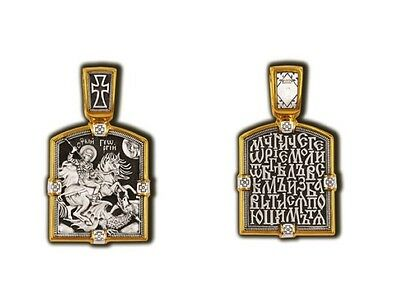 08092 Russian Orthodox Handcrafted Icon Silver 925 Gold Plated 999