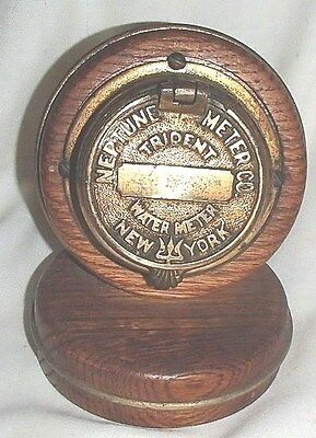 Vintage Neptune Trident Brass Water Meter New York Mounted / Clock Steampunk
