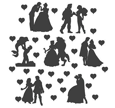 Die Cut Outs Silhouette Disney Couples x 14 set Free Hearts Valentines, Weddings