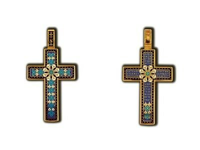 08117 Russian Orthodox Handcrafted Crucifix Cross Silver 925 Gold Plated 999
