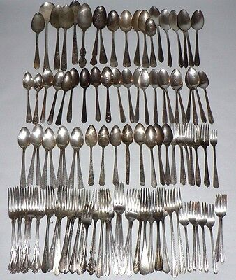 Vtg. Silverplate Flatware Forks & Spoons Mixed Lot 100 pc.