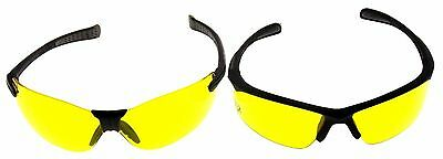 Bone Collector 2 Pair Amber Lens Safety Glasses Hunt Shoot BCVL70 BCCH70-40ID