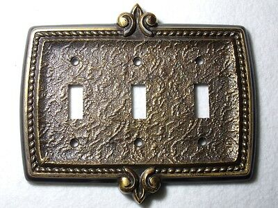 Vtg pewter tripple switch wall plate old style bronze tone nice design Canada